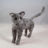 Needle Felted Animal - Gray Wool Kitty Cat Collectible Fiber Sculpture