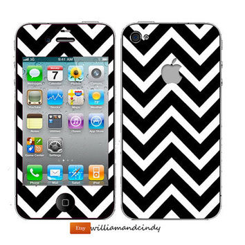 Iphone 5 4 4s Skin  Chevron Black and White by williamandcindy
