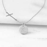 Silver Personalized Cross Necklace with Charm