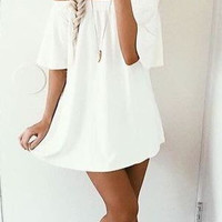 Fashion Casual Solid Color Off Shoulder Long Sleeve Loose Mini Dress