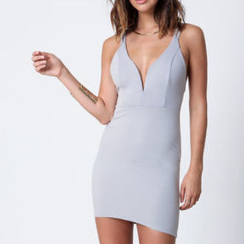 Gray Plunge Strappy Bodycon Dress - LoveCulture