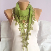 Green Scarf - Pistachio Green Heart Lace Scarf - Wedding Scarf - Bridesmaid  Scarf Gift - Elegant Summer Scarf