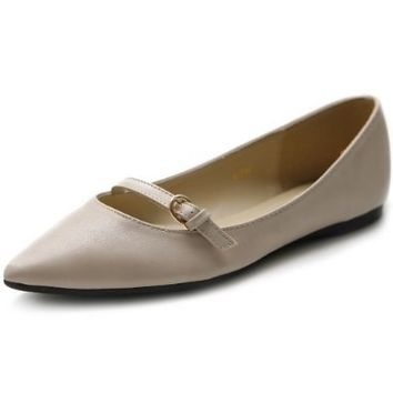 Ollio Women's Shoe Ballet Pointed Toe Mary Jane Flat