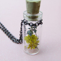 Purple & Yellow Wildflower Flower Necklace - Botanical Specimen - Real Flower Necklace - Utah Wildflowers - Terrarium Bottle Necklace