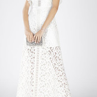 White BCBG Geanna Lace-Blocked Gown