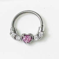 Septum Clicker 316L Steel with Pink heart gem- Size 14g -FREE RETAINER