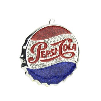 "3"" Silver Plated Classic Pepsi-Cola Bottle Cap Logo Christmas Ornament with European Crystals"