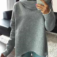 Cowl Neck Long Sleeve Pullover Sweatshirt