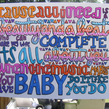 Beauty And A Beat Lyric Drawing by TaylorandEmilysEtsy on Etsy