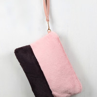 Two-Tone Faux Fur Clutch