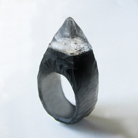 Black Spiked Stud Hand Carved Resin Ring ($60.00)