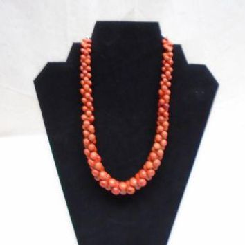 Jay King Mine Finds Coral Orange Red Stone Gem Necklace Sterling Silver 925