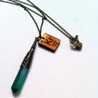 Elegant Kryptonite Quartz Crystal - Periodic Krypton Necklace