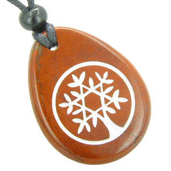 Tree of Life Circle King of Solomon Star Believe Amulet Red Jasper Pendant Necklace