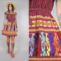 vtg 70's EMBROIDERED Bird SUNDRESS Mexican Ethnic Hippie pinstripe Novelty phoenix peacock belted