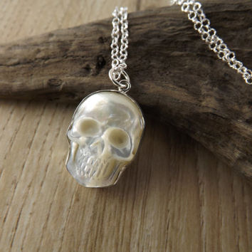 Sterling silver skull pendant~mother of pearl skull charm necklace~silver skull charm pendant~skull jewellery~sterling silver skull pendant