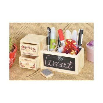Stationery Organizer Wooden Pencil Box Cases with Blackboard And Drawers