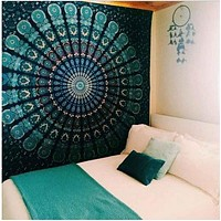 Free Shipping Indian Mandala Tapestry Crystal Array Blue Wall Art Tapestry Bed Sheet Belgium Religious Boho Wall Carpet Room M/L