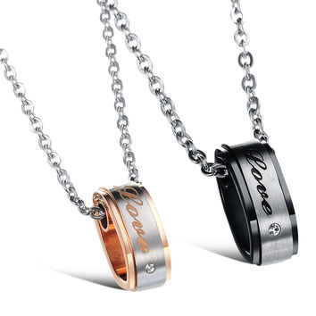 Shiny New Arrival Jewelry Gift Titanium Couple Korean Stylish Accessory Chain Necklace With Christmas Gift Box [9509256068]