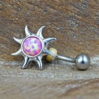 Pink Opal Sun Belly Button Ring