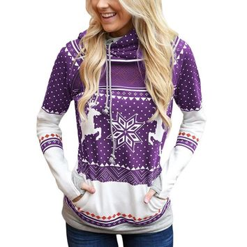 Hoodies Tops Christmas Zippers Print With Pocket Hats [1449398042721]