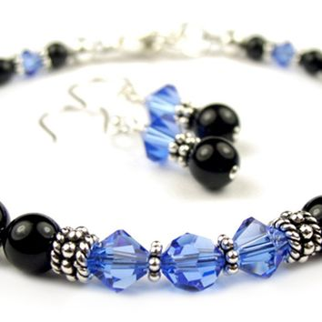 Black Pearl Beaded Bracelets and Earrings SET w/ Simulated  Blue Sapphire Accents in Swarovski Crystal Birthstone Colors