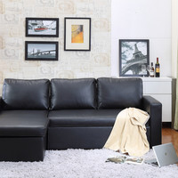 Georgetown  Bi-Cast Leather 2-Pieces Sectional Sofa Bed with Storage in Black