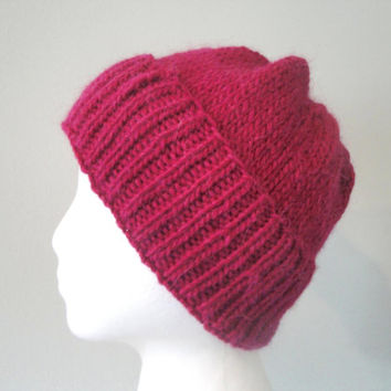 Magenta Beanie Hat for Men & Women, Hand Knit Wool/Llama, Watch Cap, Slouchy Slouch