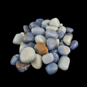 One Pound (1 lb.) of ANGELITE Smooth Tumbled Gemstones