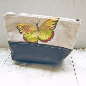 Embroidered Linen Butterfly Pouch