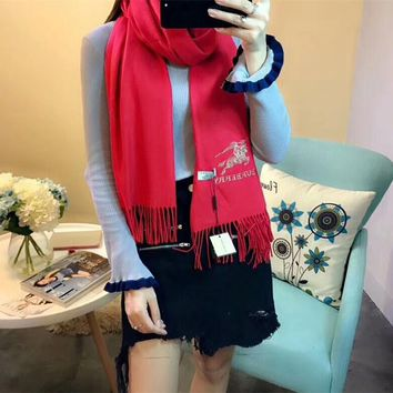 Best Online Sale Luxury Burberry Keep Warm Scarf Embroidery Scarves Winter Wool Shawl Feel Silky And Delicate - Red