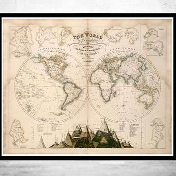 Old World Map 1862 Mercator projection