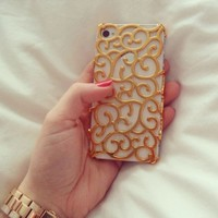 Electroplating Hollow Pattern PC Case Hard Back Cover for iPhone 4S/4, Gold:Amazon:Cell Phones & Accessories
