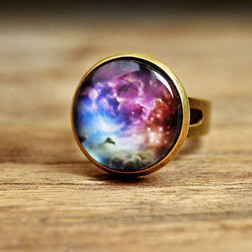 Nebula galaxy ring, adjustable ring, statement ring, antique brass ring, glass ring, antique bronze / silver plated ring base, galaxy ring