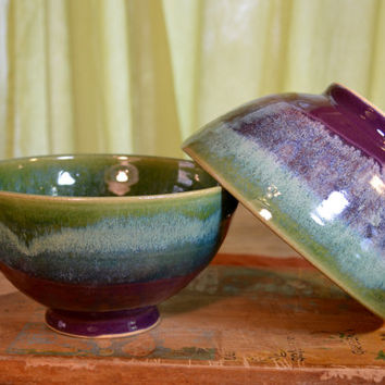 Bowl ceramic, serving stoneware, cereal bowl, glazed in purple green, handmade by hughes pottery