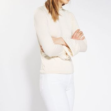 Long Sleeve Pie Crust Frill Neck Top - Tops - Clothing