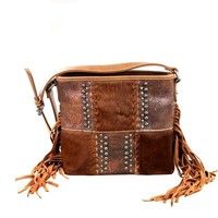 Concealed Carry Purse - Cowhide Tooled Leather Fringe Crossbody Bag by Montana West (Brown)