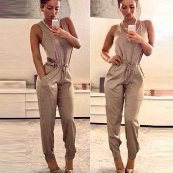 Women Sexy O-Neck Sleeveless High Waist Drawstring Jumpsuit Solid Pocket [7899860807]