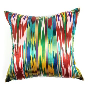Pre-owned Silk Ikat Pillow