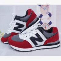 Fashionable New Balance Women/Men comfortable leisure sports shoes Dark blue(Red N)