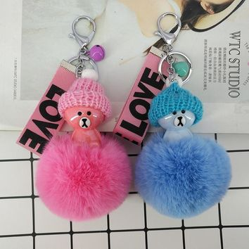 Cute Resin Bear Wear Hat  Key Chains Fluffy Balls Keyring Bags Pendants Decoration for Girls Jewelry Ornaments Kid GiftsKawaii Pokemon go  AT_89_9