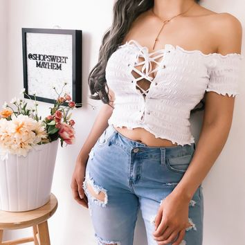 SIDNEY LACE UP TOP (WHITE)