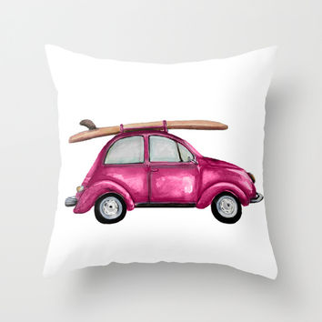 Blue vintage VW beetle - watercolor Throw Pillow by Craftberrybush