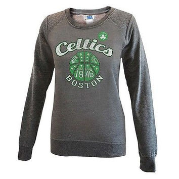 NBA Boston Celtics Women's Grey Quilted Shoulder Sweatshirt, Small, Gray