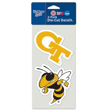 "GEORGIA TECH YELLOW JACKETS 4""X4"" DIE CUT DECAL 2-PACK CAR HOME NEW WINCRAFT"