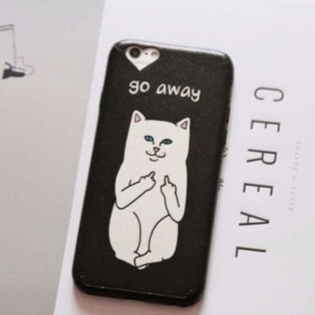 ONETOW New Ripndip Pocket Cat Go Away Print IPhone 7 7plus & 6 6s Plus 5 5s Cover Case
