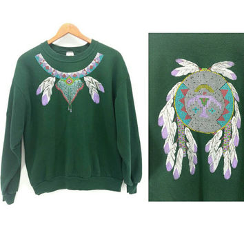 Vintage Southwestern Native Feather Dream Catcher Thunderbird Sweatshirt, Size Large, Navajo Style, 80s 90s Clothing, Green Purple Blue Gold