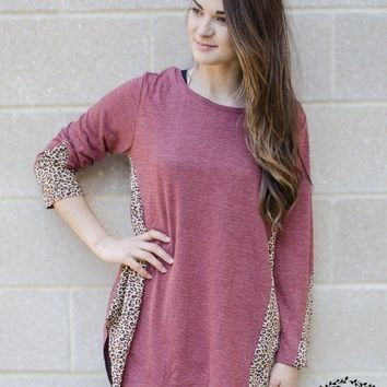 Women's Fashion Grace & Emma Loose Maroon Top with Cheetah Accents