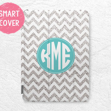 Personalized iPad Smart Cover silver glitter print Chevron Monogram custom name case for iPad Air, iPad Air 2