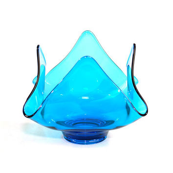 Blue Viking Glass Epic Bowl - Square Shape, Handkerchief Corners - Elegant Display, Art Glass Collectible - Vintage Home Decor